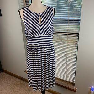 Ann Taylor Loft Striped Sleeveless Dress size L